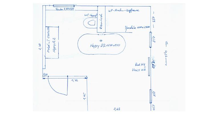 Badsanierung: Schritt 1 - Anfertigen einer Ideenskizze zum aktuellen Grundriss des Bades